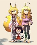 3girls ahoge animal_ears barefoot black_hair blonde_hair blue_eyes casual cat_ears cat_tail chen fox_ears fox_tail hirano_masanori midriff multiple_girls simple_background smile tail yakumo_ran yakumo_yukari