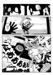 car comic drunk highres itasha matsuda_yuusuke monochrome motor_vehicle multiple_boys original punching tiara translation_request vehicle yuusha_masatoshi yuusha_to_maou
