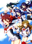 5girls futaba_aoi_(vividred_operation) highres isshiki_akane kuroki_rei long_hair multiple_girls musukichi ponytail saegusa_wakaba scarf school_uniform serafuku shinomiya_himawari short_hair short_shorts shorts thigh-highs twintails vividred_operation