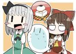 2girls adomi ascot blush_stickers bow food grey_hair hakurei_reimu konpaku_youmu konpaku_youmu_(ghost) mochi multiple_girls open_mouth ribbon short_hair skirt sweat touhou wagashi |_|