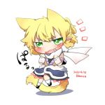 1girl animal_ears arm_warmers blonde_hair blush cat_ears cat_tail chibi extra_ears fang green_eyes kemonomimi_mode lowres mizuhashi_parsee open_mouth pointy_ears rebecca_(keinelove) scarf shirt short_hair simple_background skirt solo tail touhou white_background