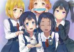 5girls asagiri_shiori black_hair blonde_hair blue_eyes brown_eyes brown_hair candy cardigan choi_mochimazzui closed_eyes dontokoi food glasses green_eyes hair_ornament kitashirakawa_tamako long_hair low_twintails makino_kanna mochi multiple_girls ruler school_uniform short_hair side_ponytail smile tamako_market tokiwa_midori twintails violet_eyes wagashi