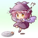 ! 1girl ? chibi crying flying frills gradient gradient_background gradient_hair hat head_wings manhole multicolored_hair mystia_lorelei purple_hair ryogo shadow short_hair skirt tears touhou wings yellow_eyes