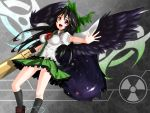 1girl arm_cannon black_hair cape dang galaxy hair_ribbon highres long_hair open_mouth outstretched_arm panties pantyshot pantyshot_(standing) radiation_symbol red_eyes reiuji_utsuho ribbon skirt smile solo standing third_eye touhou underwear weapon white_panties wings