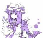 ? bat_wings crescent hand_puppet koakuma patchouli_knowledge puppet shirt_grab star touhou wings yuuta_(monochrome)