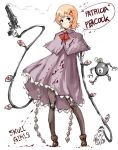 1girl black_eyes blood blood_on_face bomb capelet dress extra_eyes george_the_bomb gun mechanical_arms no_hat no_headwear orange_hair peacock_(skullgirls) red_eyes revolver robot_joints short_hair skullgirls smoke smoking_gun speech_bubble title_drop weapon yrafy