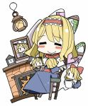 1girl =_= adomi alice_margatroid blonde_hair blush bow brown_hair capelet character_doll clock cup doll dress fireplace hairband kirisame_marisa long_hair photo_(object) ribbon shanghai_doll short_hair sitting smile touhou |_|