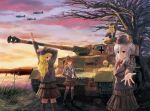 4girls airplane artist_name blonde_hair blue_eyes bow brown_eyes brown_hair caterpillar_tracks cattail clouds dandyminus dated hair_ornament hairclip hands_in_pockets hat headset iron_cross lake landscape long_hair looking_over_shoulder military military_uniform military_vehicle multiple_girls necktie original outstretched_hand panzerkampfwagen_iv plant scenery silver_hair skirt sky smile soldier sunset tank thigh-highs uniform vehicle water world_war_ii