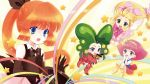 4girls :o artist_request blonde_hair blue_eyes bow bowtie chibi creature gloves green_eyes green_hair hair_bow hairband hana_no_mahoutsukai_mary_bell haneoka_meimi hat kaitou_saint_tail long_hair low-tied_long_hair mahou_no_princess_minky_momo mary_bell minky_momo multiple_crossover multiple_girls orange_hair pink_hair ponytail ribbon saint_tail short_hair skirt socks star timon_(yadamon) top_hat yadamon yadamon_(character)