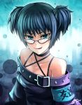 1girl absurdres blue_eyes blue_hair flat_chest glasses highres looking_at_viewer short_hair smile solo zen_(jirakun)