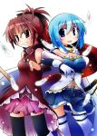 2girls bare_shoulders blue_eyes blue_hair bow cape detached_sleeves dress feathers gloves hair_bow highres light_particles locked_arms long_hair magical_girl mahou_shoujo_madoka_magica miki_sayaka multiple_girls open_mouth ponytail red_dress red_eyes redhead sakura_kyouko short_hair simple_background soul_gem thigh-highs white_background yuuhi_alpha zettai_ryouiki