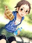 1girl bike_shorts bottle bread brown_eyes brown_hair collarbone dutch_angle food glasses grass holding idolmaster idolmaster_cinderella_girls kitagawa_mahiro looking_at_viewer offering outstretched_arm sakura_(medilore) short_hair sitting skirt solo toast water_bottle zipper