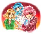 3girls blazer blonde_hair blue_eyes blue_hair braid clamp_(style) creature glasses gradient gradient_background green_eyes hair_ribbon hairband highres hououji_fuu long_hair magic_knight_rayearth mokona multiple_girls namin orange_background parody red_background red_eyes redhead ribbon ryuuzaki_umi school_uniform shidou_hikaru short_hair single_braid smile style_parody wink