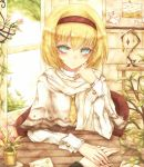 blonde_hair flower green_eyes headband highres mk278 necktie photo_(object) short_hair tagme touhou