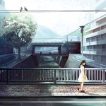 1girl bird bridge brown_eyes city dress gemi mountain original pigeon power_lines red_shoes river shoes solo sundress tree walking white_dress