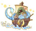 atusix chibi duel_monster floating hood number_22_zombiestein number_50_blackship_of_corn number_91_thunder_spark_dragon red_eyes sharp_teeth water yellow_eyes yuu-gi-ou