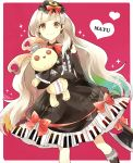 1girl axe blonde_hair bow doll dress elbow_gloves gloves hair_ornament kneehighs lolita_fashion long_hair looking_at_viewer mayu_(vocaloid) piano_print smile stuffed_animal stuffed_toy vocaloid weapon wrt_(arpaca) yellow_eyes