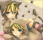1boy 1girl animal_ears blonde_hair blue_eyes cat_ears cat_tail kagamine_len kagamine_rin kuroi_(liar-player) short_hair tail vocaloid