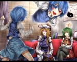 3girls ascot black_legwear blue_eyes blue_hair closed_eyes crossed_legs green_hair hat hat_ribbon heterochromia karakasa_obake kazami_yuuka letterboxed long_hair long_sleeves multiple_girls open_mouth red_eyes ribbon ryuuichi_(f_dragon) short_hair sitting skirt smile tatara_kogasa thigh-highs touhou umbrella yakumo_yukari yin_yang