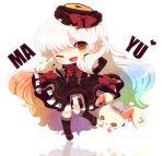1girl :p ;) chibi doll dress elbow_gloves gloves gradient_hair haru431 long_hair mayu_(vocaloid) multicolored_hair piano_print tongue vocaloid wink yellow_eyes