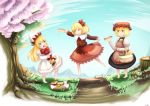 3girls :3 :t aki_minoriko aki_shizuha apron baguette barefoot basket blonde_hair blue_eyes bow bread capelet cherry_blossoms dandelion dress eating flower food fruit furim grapes grass hamburger hat jumping leaf_hair_ornament lily_white long_hair long_sleeves multiple_girls open_mouth outdoors path picnic road rock short_hair stump touhou tray tree yellow_eyes