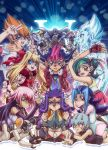 6+boys 6+girls ^_^ astral_(yuu-gi-ou_zexal) blonde_hair blood blue_eyes blue_hair bow boy_on_top character_request closed_eyes dress fingerless_gloves frills gloves green_hair hair_bow jewelry long_hair lying multiple_boys multiple_girls necklace open_mouth orange_eyes pink_hair purple_hair raku_(howdy) skirt tsukumo_yuma v very_long_hair violet_eyes wink yellow_eyes yuu-gi-ou yuu-gi-ou_zexal