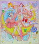 2girls arm_up bishoujo_senshi_sailor_moon blue_eyes blue_hair bobby_socks boots bow brooch cat chibi_usa choker crescent_moon crystal_carillon double_bun dress earrings gera_gera_(persia) gloves hair_ornament hairband hairpin heart jewelry long_hair luna-p luna_(sailor_moon) magical_girl mahou_no_yousei_persia mary_janes meso_meso_(persia) mikiky moon multiple_girls persia pink_dress pink_hair puri_puri_(persia) red_eyes ribbon sailor_chibi_moon sailor_collar shoes short_hair simba_(persia) skirt smile socks sparkle star super_sailor_chibi_moon tiara traditional_media twintails wand white_gloves