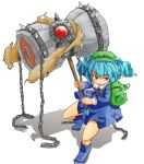 1girl aa_nin backpack bag blue_eyes blue_hair boots chain dress frown gem hair_bobbles hair_ornament hat kawashiro_nitori key long_sleeves looking_away shadow short_hair simple_background sledgehammer solo spikes strap touhou twintails weapon white_background