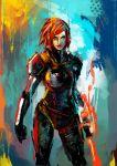 1girl armor blue_eyes bodysuit clenched_hands commander_shepard commander_shepard_(female) energy_blade lips mass_effect mass_effect_3 muju n7_armor redhead solo