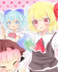 3girls =_= ascot blonde_hair blue_eyes blue_hair bow cirno closed_eyes dress fingernails frog frozen hair_bow hair_ribbon hat hiyo_(3967896) multiple_girls mystia_lorelei nail_polish open_mouth pink_background pink_hair polka_dot polka_dot_background puffy_short_sleeves puffy_sleeves red_eyes ribbon rumia short_hair short_sleeves skirt skirt_set stick string tears touhou wavy_mouth wings