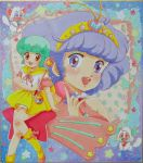2girls 80s aqua_hair blush brown_eyes cat creamy_mami dress dual_persona hairband loose_socks mahou_no_tenshi_creamy_mami microphone mikiky morisawa_yuu multiple_girls nega_(creamy_mami) oldschool posi_(creamy_mami) purple_hair shoes short_hair skirt smile socks star traditional_media violet_eyes wand yellow_dress yellow_legwear
