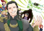 1girl 6+boys anger_vein avengers black_hair black_widow bruce_banner captain_america chibi clint_barton dual_persona fangs green_eyes grin hair_slicked_back hawkeye_(marvel) hulk iron_man loki_(marvel) multiple_boys natasha_romanoff smile steve_rogers thor_(marvel) tony_stark yumiya