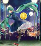 1girl cityscape dress floating_hair green_eyes green_hair hair_ribbon hatsune_miku high_heels highres lamppost long_hair origami pantyhose paper_crane petticoat ribbon running shoes sky solo star star_(sky) starry_sky twintails very_long_hair vocaloid