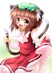 1girl animal_ears blush bow brown_hair cat_ears cat_tail chen dress dress_lift fang frilled_dress frills hat high_collar jewelry kane-neko long_sleeves looking_at_viewer multiple_tails open_mouth red_dress single_earring smile solo tail tail_grab touhou