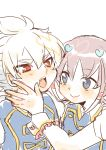 2boys blush cosplay hair_ornament hakuryuu_(inazuma_eleven) heart inazuma_eleven_(series) inazuma_eleven_go male multicolored_hair multiple_boys open_mouth red_eyes shuu_(inazuma_eleven) simple_background smile tagme tobi_(one) two-tone_hair white_background