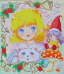 2girls bird blonde_hair blue_eyes bubble cat food fruit green_eyes hat marielle_lugran memoru mikiky minigirl mouse multiple_girls mushroom purple_hair raspberry short_hair smile tongari_boushi_no_memoru traditional_media