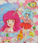 2girls 80s arm_up blue_eyes blue_hair bobby_socks cat dress dual_persona gera_gera_(persia) hairband heart long_hair mahou_no_yousei_persia mary_janes meso_meso_(persia) mikiky multiple_girls oldschool persia pink_hair puri_puri_(persia) red_dress shirt shoes simba_(persia) skirt smile socks standing_on_one_leg star traditional_media wand