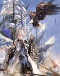 1girl bird blue_eyes eagle feathers gauntlets highres kxxxxxxxxxxx pixiv_fantasia pixiv_fantasia_new_world sail ship side_ponytail sword weapon white_hair