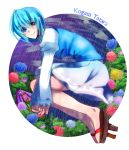 1girl ange ange_(kotonoha_731) bare_legs blue_eyes blue_hair flower geta heterochromia highres karakasa_obake rain red_eyes short_hair skirt smile solo tatara_kogasa tongue touhou umbrella water