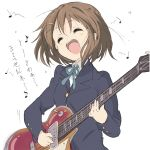1girl brown_eyes closed_eyes core_(mayomayo) guitar hirasawa_yui instrument k-on! school_uniform short_hair