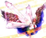 1girl alternate_weapon arm_cannon bird_wings black_legwear bow breasts brown_hair cape caution glowing glowing_weapon hair_bow highres large_breasts looking_at_viewer nikonikosiro radiation_symbol red_eyes reiuji_utsuho shirt skirt solo space sparks thigh-highs third_eye touhou wave_motion_gun weapon zettai_ryouiki