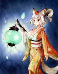 1girl animal_ears breasts brown_eyes cleavage fox_ears fox_tail hair_up highres hitodama japanese_clothes kimono kongiku lantern large_breasts leaf leaf_on_head obi oboro_muramasa paper_lantern parted_lips silver_hair solo tail tassel toyo-1040-maruthi