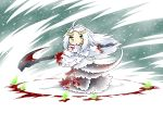 1girl ahoge blood blood_on_face bloody_clothes chibi dark_souls eyebrows fire fur green_eyes green_fire long_hair priscilla_the_crossbreed scythe serizawa_enono tail thick_eyebrows weapon white_hair