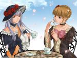 2girls beatrice blonde_hair blue_eyes bow chair cherry_blossoms choker cup dress flower hair_bun hair_flower hair_ornament hat izumi_natsuka multiple_girls petals rose sash saucer silver_hair smile table teacup umineko_no_naku_koro_ni virgilia wide_sleeves