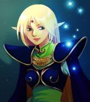 1girl armor blonde_hair blue_eyes breastplate cape circlet deedlit elf glowing lips lowres pointy_ears record_of_lodoss_war smile solo star tomoyagiko