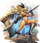 1girl amazon_(dragon's_crown) axe bikini blonde_hair boots breasts chingisu circlet dragon's_crown feathers gloves green_eyes halberd long_hair muscle polearm solo swimsuit tattoo weapon