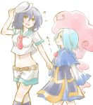 2girls :3 adult belt black_hair blue_hair blush_stickers child holding hood_down kesa kudou_fuyuka kumoi_ichirin multiple_girls murasa_minamitsu navel neckerchief open_mouth sailor short_hair shorts sleeves_past_wrists smile touhou unzipped young
