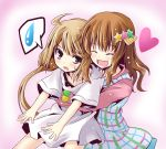 :d bike_shorts brown_eyes brown_hair dress futaba_anzu heart holding ichimi idolmaster idolmaster_cinderella_girls moroboshi_kirari open_mouth smile spoken_sweatdrop striped striped_bike_shorts sweatdrop t-shirt twintails