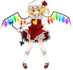 1girl ascot blonde_hair bloomers fang flandre_scarlet hat hat_ribbon highres kneehighs laevatein looking_at_viewer mary_janes mob_cap open_mouth pigeon-toed puffy_short_sleeves puffy_sleeves red_eyes ribbon shoes short_hair short_sleeves side_ponytail simple_background skirt skirt_set solo touhou underwear white_background wings wrist_cuffs yuka_yukiusa