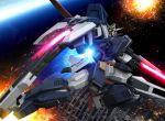 armor beam_rifle cannon earth explosion gun gundam gundam_age gundam_age-1 gundam_age-1_glansa hiropon_(tasogare_no_puu) mecha space space_colony weapon zero_gravity